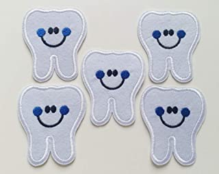 6x7cm 10pcs Dentist Tooth Smile White Iron On Sew On Cloth Embroidered Patches Appliques Machine Embroidery Needlecraft Sewing Projects