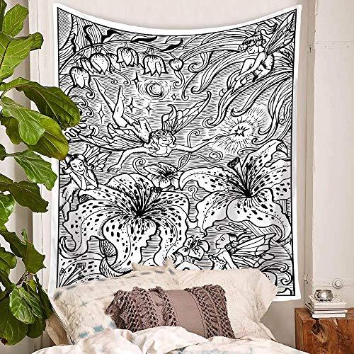 YDH Tapiz de pared con diseño de flores, color blanco y negro, diseño floral, 130 x 150 cm