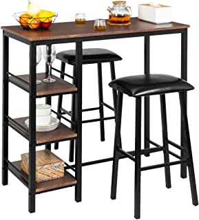 Bonnlo 3-Piece Counter Height Dining Table Set Kitchen Dining Pub Bar Table with 2 Upholstered Stools & 3 Open Storage Shelves