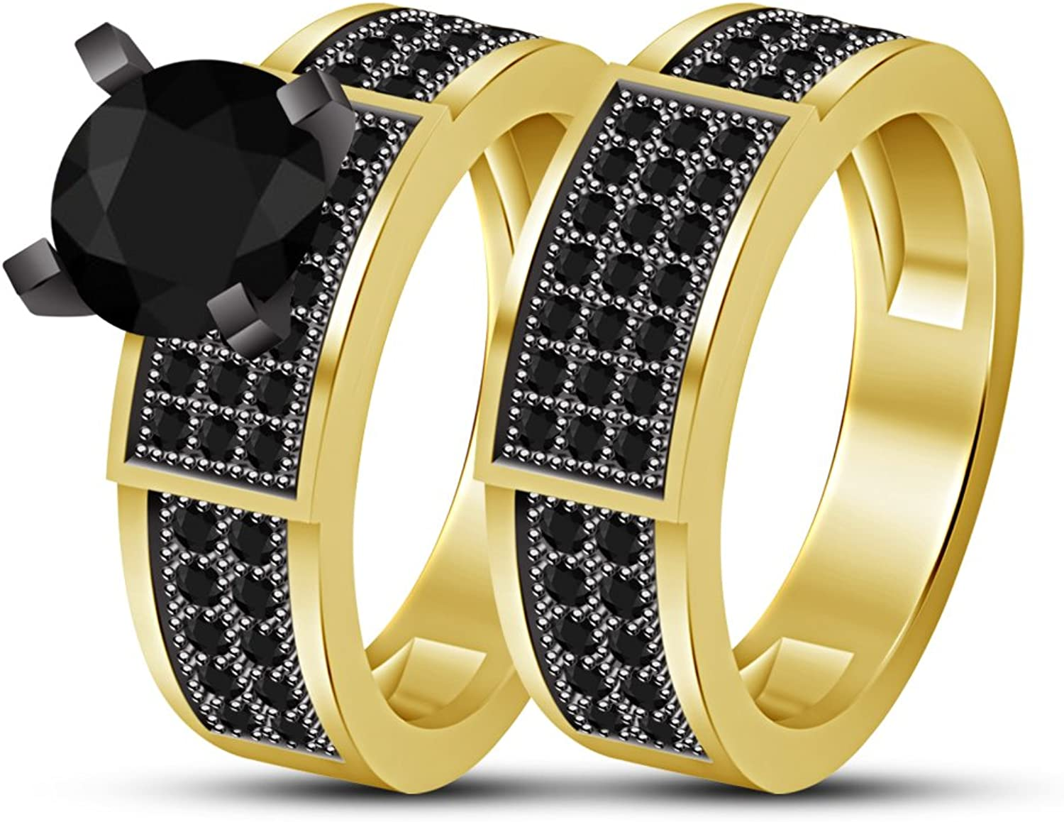 Vorra Fashion Women's 2Pcs Anniversary Ring Bridal Set in 925 Sterling Silver 14k gold Plated
