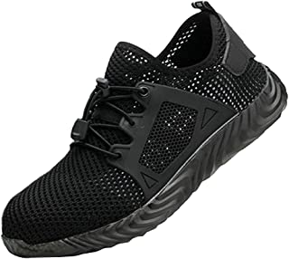 Baosity Steel Toe Shoes Men, Work Safety Sneakers Lightweight Industrial & Construction Shoes, Premium - Black 8.5