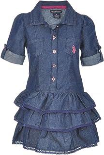 U.S. POLO ASSN. Little Girls' Denim Ruffle Tiered Dress - Pink