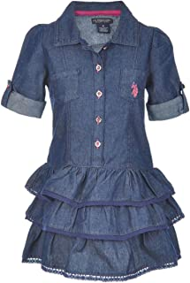 Little Girls' Denim Ruffle Tiered Dress