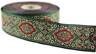 Ribbonlands 35 mm Green Medieval Motive Woven Border (1.37 inches), Jacquard Ribbon, Embroidered Ribbon, Sewing Trim, Scroll Jacquard Trim, Woven Border - 11 Yard/10 m (10 meters/10.93 Yards), 35589