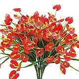SODIAL 4 Bouquets De Faux Fleurs Artificielles Plantes Faux Anthurium Plantes Arbustes en Plastique Buissons Verdure Interieur Exterieur Jardiniere A Suspendre Decorations pour La Maison