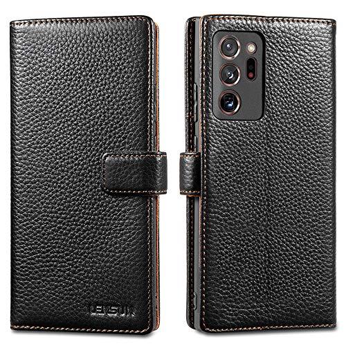 LENSUN Echtleder Hülle für Samsung Galaxy Note 20 Ultra, Leder Handyhülle Kartenfächer Handytasche Lederhülle kompatibel mit Samsung Galaxy Note 20 Ultra 5G – Schwarz(N20U-LG-BK)