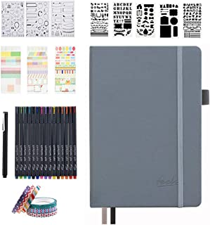 Dotted Journal Set, 224 Numbered Pages Faux Leather A5 Grid Hard Cover Gray Notebook Planner with Index Inner Pocket, Abundant Accessories for Beginners Diary Schedule by Feela
