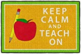 Flagship Carpets - Keep Calm & Teach On Area Rug for Kid's Classroom, Children's Daycare, Home School and Teacher's Supplies - Orange & Green, 2'x3', Rectangle, Machine Washable