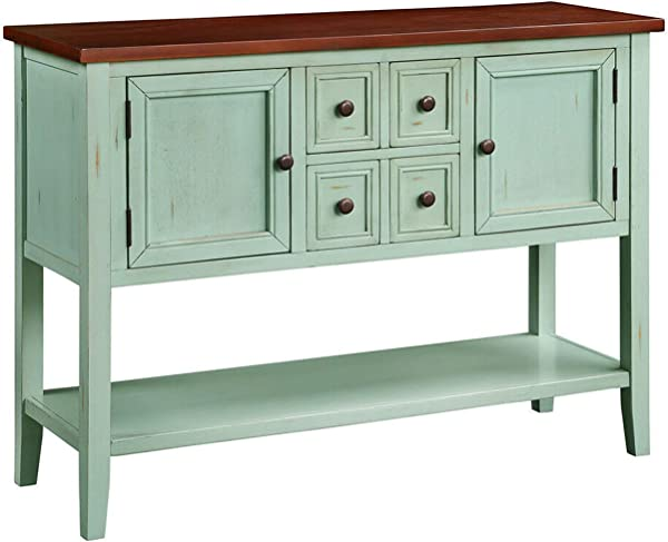 Antique Blue Acacia Mangium Wood Cambridge Vintage Kitchen Sideboard Buffet Cupboard Storage Cabinet With 4 Drawers And Bottom Shelf Dining Room Server Tables Console Table Home Accent Furniture