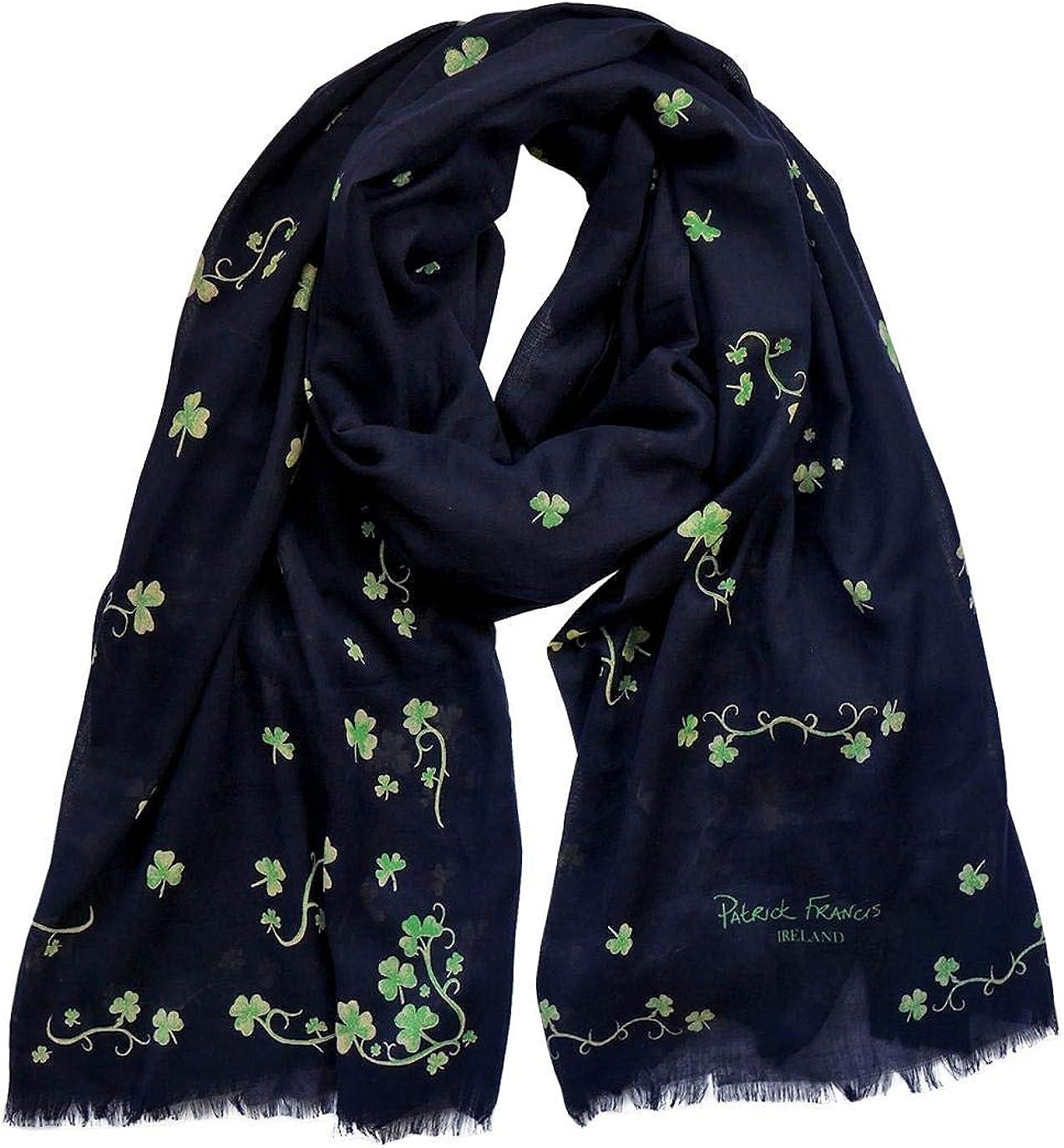 Patrick Francis Shamrock Designed Fashion Scarf, Navy Colour