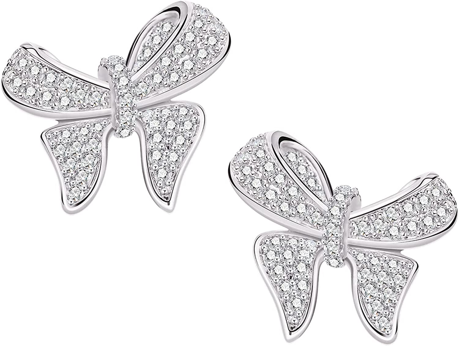 Big 2021 model Industry No. 1 Butterfly Earrings for Women - 3D Bow Pave CZ Stud