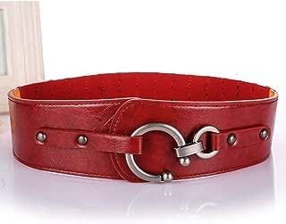 LUKEEXIN Women Wide Waist Elastic Belt All-Match Lady Skirt Coat Jacket with Wide Belt Skirt (Color : Red)