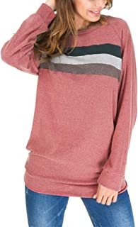 Helisopus Women Striped Pullovers Sweatshirt Cotton Long Sleeve Crew Neck Tops Blouses
