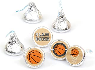 Big Dot of Happiness Nothin' but Net - Basketball - Party Round Candy Sticker Favors – Labels Fit Hershey's Kisses (1 sheet of 108)