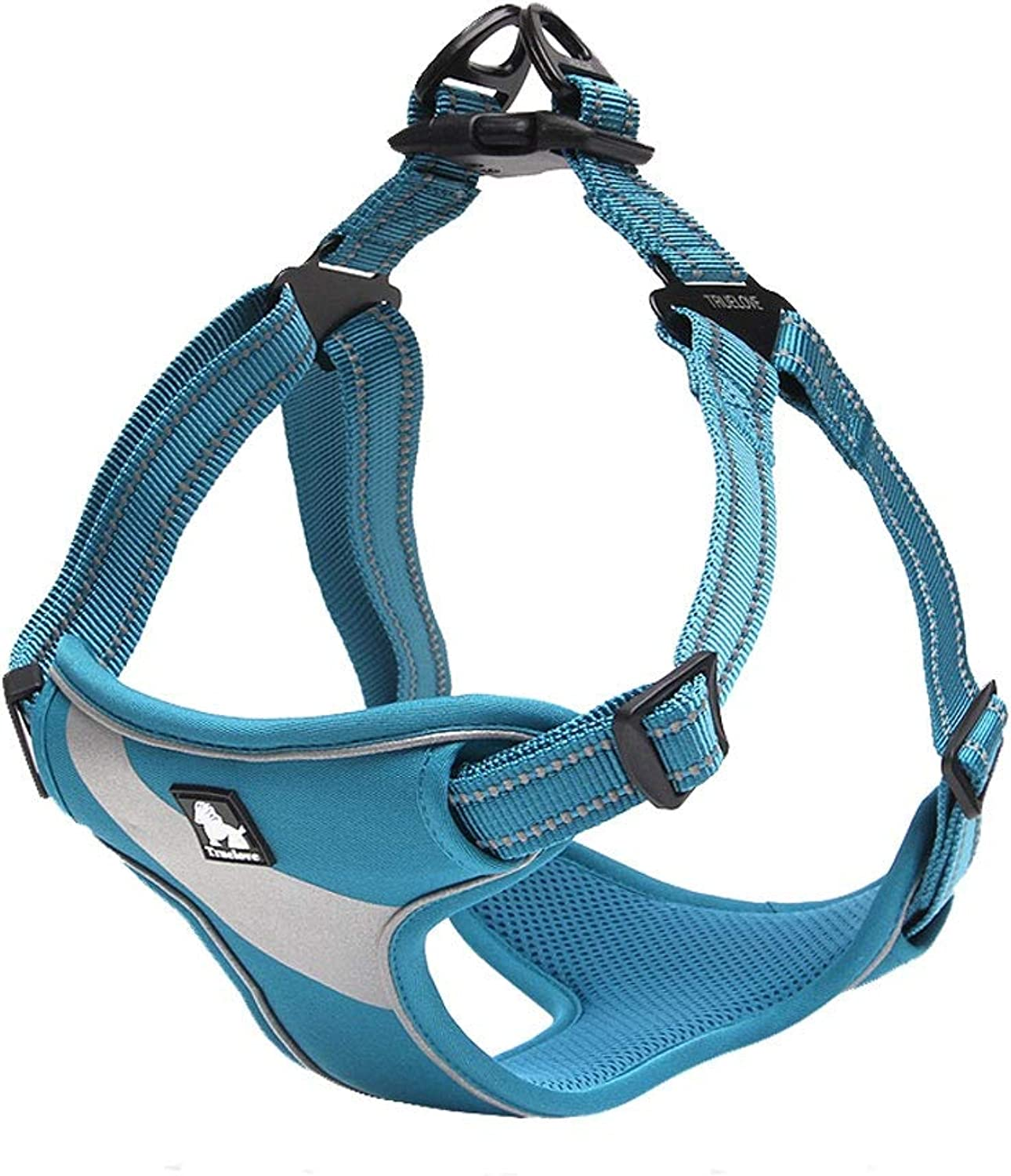 Back Chest with Pet bluee Adjustable Strap Clip MultiFunction Breathable Fabric Dog Vehicle Walking Vest Strap Outdoor Travel MultiFunctional Breathable Fabric (color   bluee, Size   M)