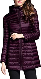 Macondoo Womens Thickened Quilted Hooded Outwear Packable Puffer Down Coat