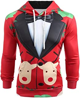 Ugly Christmas Hoodies, F_Gotal Men Christmas Suit 3D Pattern Suit Tie Print Long Sleeve Drawstring Hoodie Pullover