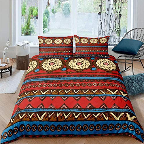 Rnvvaceo Childrens 3D Tribal ethnic wind abstract geometry Bedding Set for Toddler Boys Girls Duvet Cover and Pillowcase (Single size 135 x 200 cm ), Girl bedding
