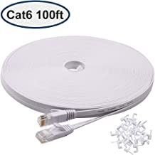 Cat 6 100 ft Ethernet Cable, Flat long network cable with Rj45 Connectors, High Speed Lan Cable with Clips - White 30 M