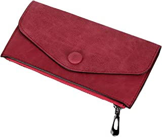 Women Simple Thin Leather Wallets to Organize Your Cash,Credit Card and Phone Zipper Clutch Purse