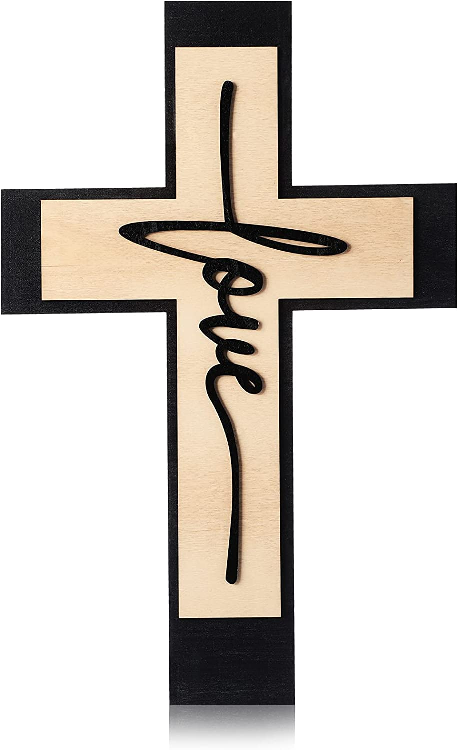 Jetec Wooden Hanging Wall Cross Wall Love Decor, Large Decorative Love Wall Art Cross Wood Rustic Home Hanging Decor for Home Room Garden Yard Supplies, 16 x 10 Inch