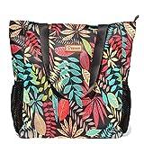 Original Floral Water Resistant Large Tote Bag Shoulder Bag for Gym Beach Travel Daily Bags Upgraded ([T] Black Leaf)