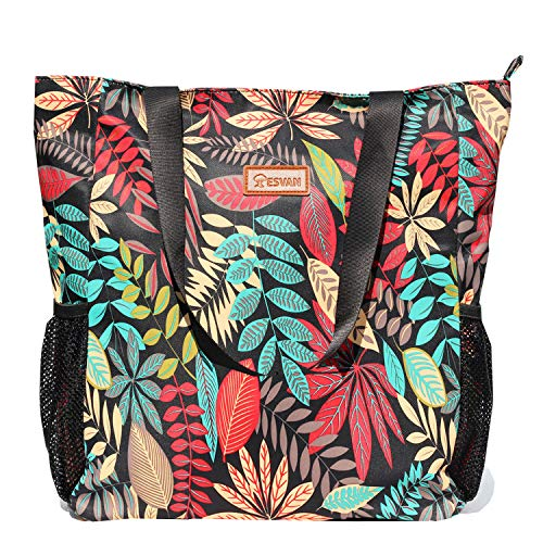 Original Floral Water Resistant Large Tote Bag Shoulder Bag for Gym Beach Travel Daily Bags Upgraded ([T] Black Leaf)