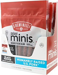 CREMINELLI Black Pepper Salami Mini Snacks, Humanely-Raised U.S. Pork, Keto & Paleo Friendly, 19g of Protein - Sugar Free, Gluten Free, No Added Nitrates or Nitrites (Black Pepper, 2.6oz 6 Pack)