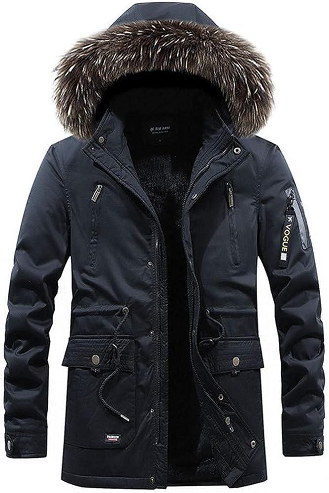 Newbestyle Men's Winter Warm Fleece Lined Parka Jacket Detachable Hooded Windbreaker Coats