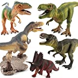 KLTOYS Dinosaur Figure Toy, Realistic Simulation Dinosaur for Kids and Adults, Yutyrannus, Pentaceratops, Tyrannosaurus Rex, Giganotosaurus (5 pieces)
