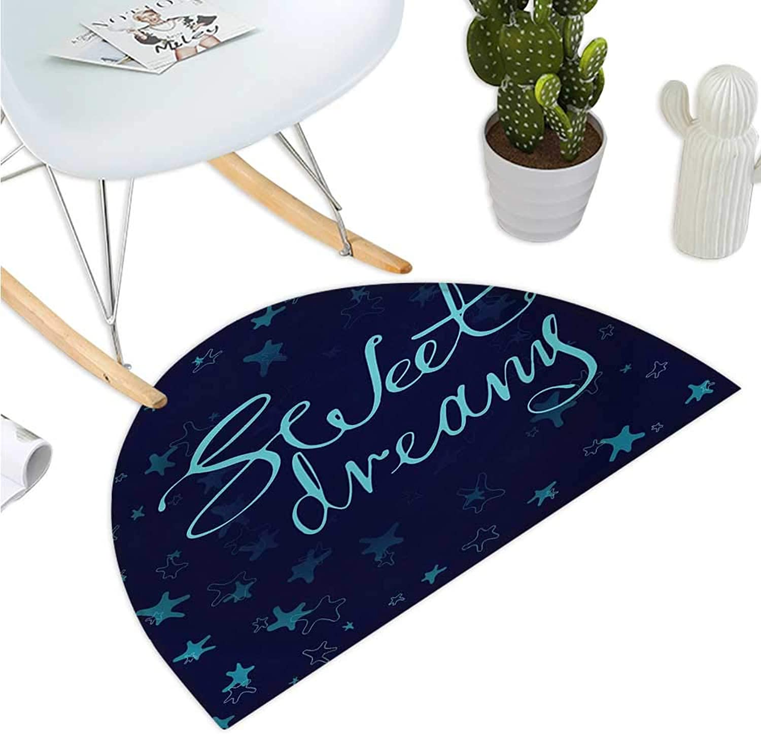 Sweet Dreams Half Round Door mats Phrase in Handwriting Style on Starry Background Modern Calligraphy Entry Door Mat H 51.1  xD 76.7  Aqua and Navy bluee