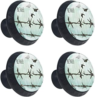 Barbed Wire Turning Into Flying Butterflies Liberty Broken Fences Art Quotes Be Free Drawer Knob Pull Handle Crystal Glass Circle Shape Cabinet Cupboard Knobs with Screws for Home Office 4 Pieces