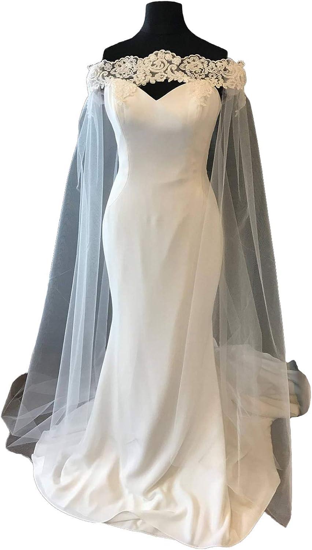 Faithclover Wedding Capes Lace Ivory Cathedral Length Off Shoulder Bridal Wraps Long Train Shawls Cloak
