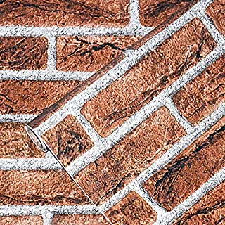 """Faux Brick Wallpaper, H2MTOOL Removable Self Adhesive Contact Paper Decorative (17.7"""" x 78.7"""", Orange Red)"""