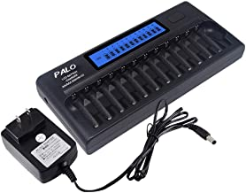 Palo 12 Bay Larger Battery Charger Smart LCD Display for AA AAA Ni-MH/Ni-CD Batteries with Refresh Function Household Battery Charger w/AC Wall Adapter