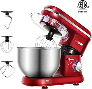 VIVOHOME Stand Mixer, 650W 6 Speed 6 Quart Tilt-Head Kitchen Electric Food Mixer with Beater, Dough Hook and Wire Whip, Red, ETL Listed
