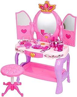 HJXDJP-子供のままごと遊びをするドレッサーおもちゃ シミュレーション 化粧台 女の子メイクゲームセット鏡台、椅子、ヘアクリップ、櫛、ヘアドライヤー、鏡やその他の付属品を含みます (ピンク普通版)