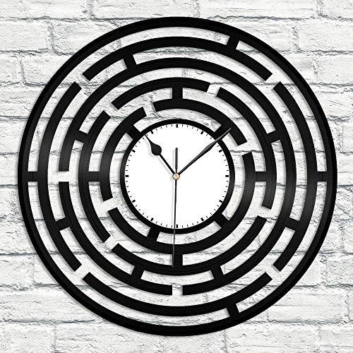 XYLLYT Reloj de Pared de Vinilo con Laberinto Abstracto, Regalo de Recuerdo, decoración para el hogar, Sala de Estar, diseño Vintage, Barra de Oficina, Dormitorio, decoración del hogar, Arte, hogar