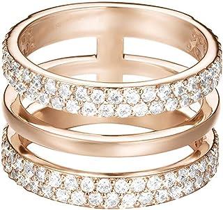 خاتم مصقول من النحاس الاصفر ومزين بالزركون الشفاف للنساء من اسبريت