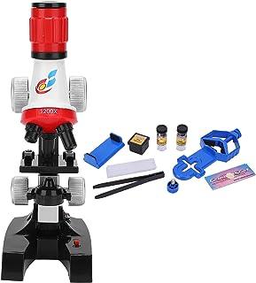 Okuyonic Microscope pour Enfants 100X-400X-1200X pour Enfants((Red))