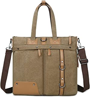 Mens Bag Shoulder Bag Men's Briefcase Zippered Canvas Waterproof Messenger Bag (Color: Khaki) High capacity