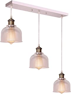 CO-Z 3-Light Industrial Hanging Linear Ceiling Pendant Light with Textured Glass Shade, Antique Brass & Brushed Nickel Dimmable Lamp for Kitchen Island, Dining Room, Hallway, or Bedroom, UL-Listed