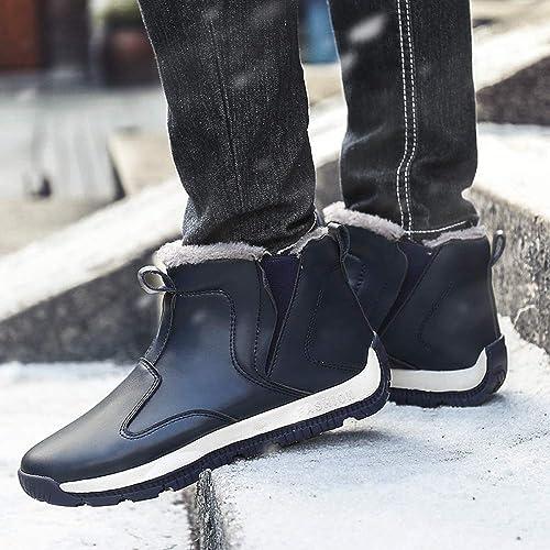 Jinhaixue botas de Nieve para Hombre Resbalón en Botines de Tobillo Resistente al Agua Antideslizante más Zapaños de Invierno con Forro de Terciopelo