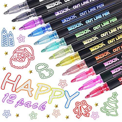 Pennarelli a doppia linea in 12 colori, penne glitterate per disegno artistico, per scrivere, disegnare, fare biglietti di auguri, scrapbooking, pittura e artigianato fai da te.