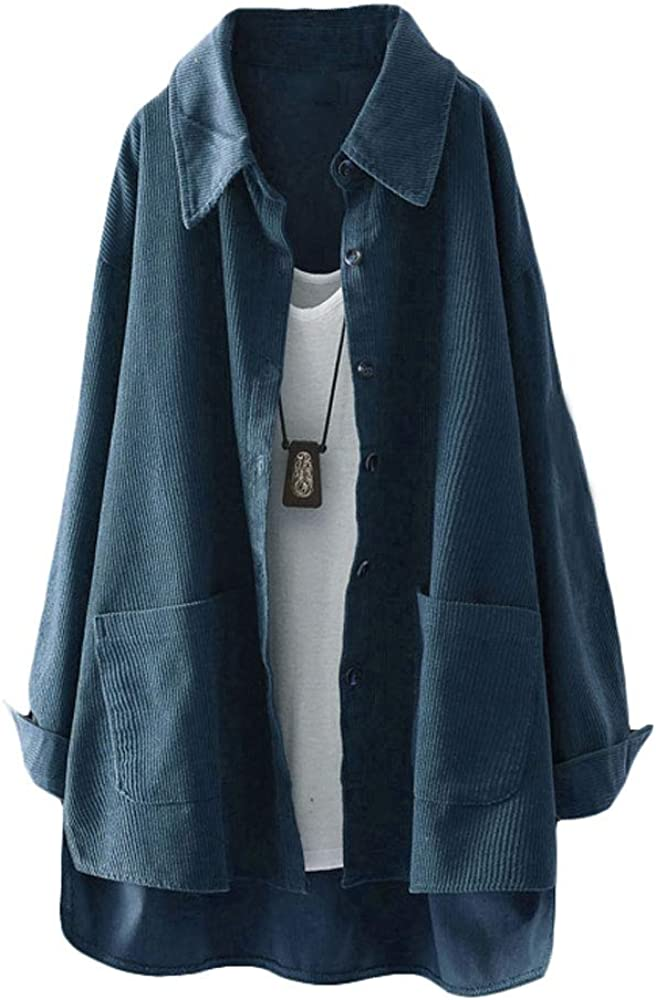 Mordenmiss Max 56% OFF Women's Button Down Shirt Coat Al sold out. Casual Jacket Corduroy