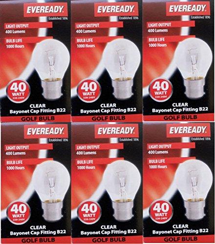 6 x EVEREADY Classic Mini Globes 40W, BC B22 B22d, Clear Round Light Bulbs,...