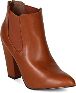 Women Leatherette Pointy Toe Chunky Heel Chelsea Riding Ankle Bootie BF99 - Tan (Size: 9.0)