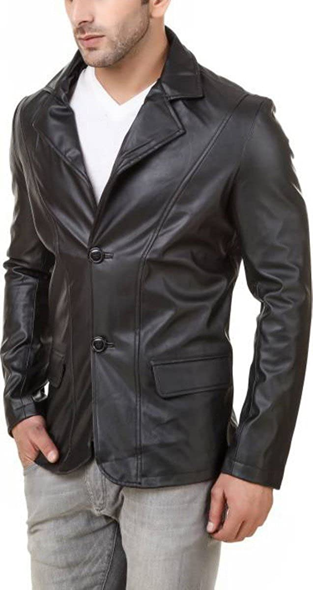 Travel Hide Men's Leather Blazer Button specialty shop Genuine Bla NEW before selling ☆ Two Lambskin
