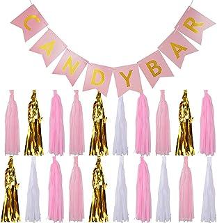 Guirnalda Banderines CANDY BAR Cartulina + 20pcs Borlas Papel Seda Decoración Boda Fiesta Cumpleaños Bautizo Comunión