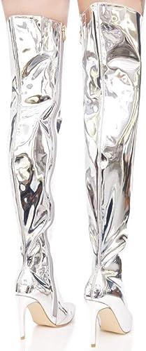 GONGFF Chaussures Femme, Talons Aiguilles En Cuir Miroir